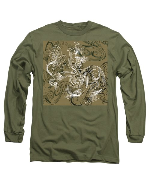 Coffee Flowers 2 Olive Long Sleeve T-Shirt
