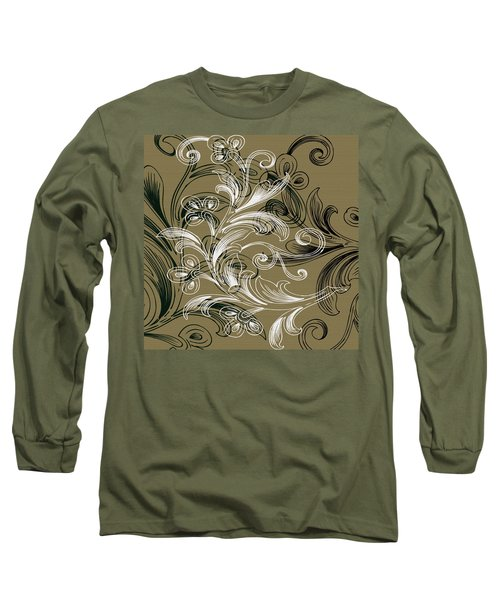 Coffee Flowers 4 Olive Long Sleeve T-Shirt by Angelina Vick