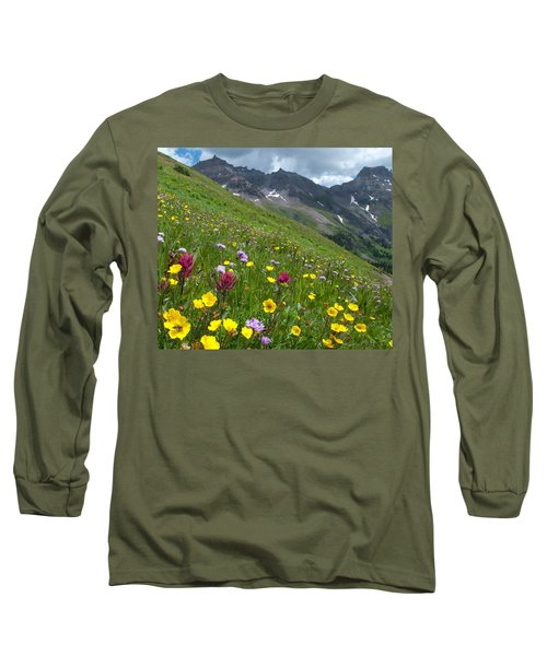 Colorado Wildflowers And Mountains Long Sleeve T-Shirt