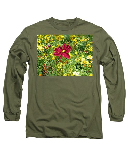Colorful Flower Meadow With Great Red Blossom Long Sleeve T-Shirt