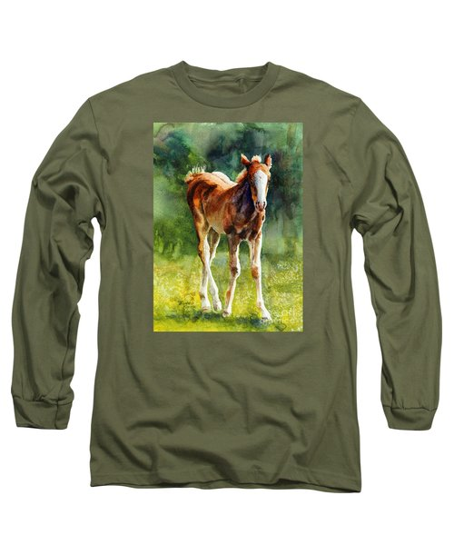 Long Sleeve T-Shirt featuring the painting Colt In Green Pastures by Bonnie Rinier