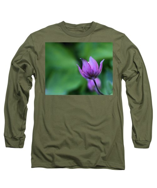 Columbine Flower Bud Long Sleeve T-Shirt by Kathy Eickenberg