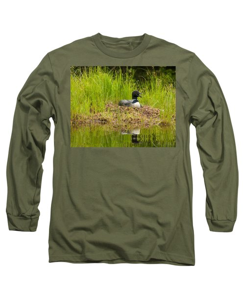 Long Sleeve T-Shirt featuring the photograph Common Loon Nesting by Brenda Jacobs