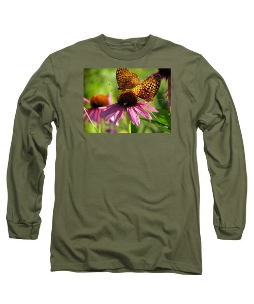 Coneflower Butterflies Long Sleeve T-Shirt by David T Wilkinson