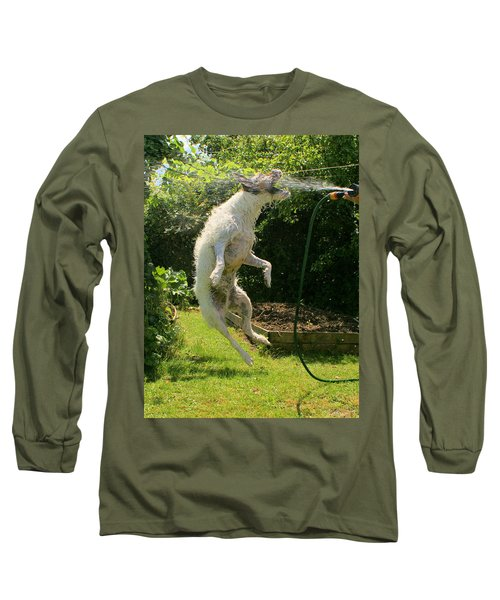 Long Sleeve T-Shirt featuring the digital art Cool Dog by Ron Harpham