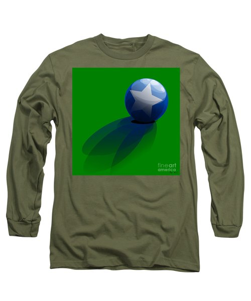 Long Sleeve T-Shirt featuring the digital art Blue Ball Decorated With Star Grass Green Background by R Muirhead Art