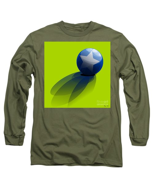Long Sleeve T-Shirt featuring the digital art Blue Ball Decorated With Star Green Background by R Muirhead Art