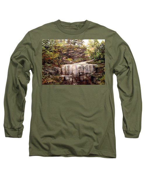 Long Sleeve T-Shirt featuring the painting Cool Waterfall by Dorothy Maier