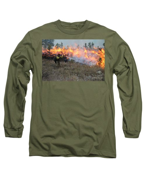 Long Sleeve T-Shirt featuring the photograph Cooling Down The Norbeck Prescribed Fire. by Bill Gabbert