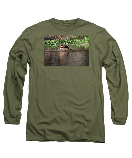 Long Sleeve T-Shirt featuring the photograph Cooter On Alligator Log by Paul Rebmann