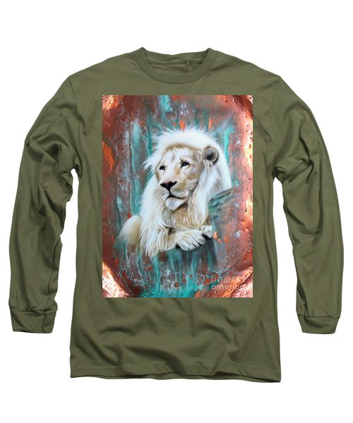Copper White Lion Long Sleeve T-Shirt by Sandi Baker