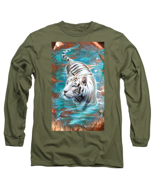 Copper White Tiger Long Sleeve T-Shirt by Sandi Baker