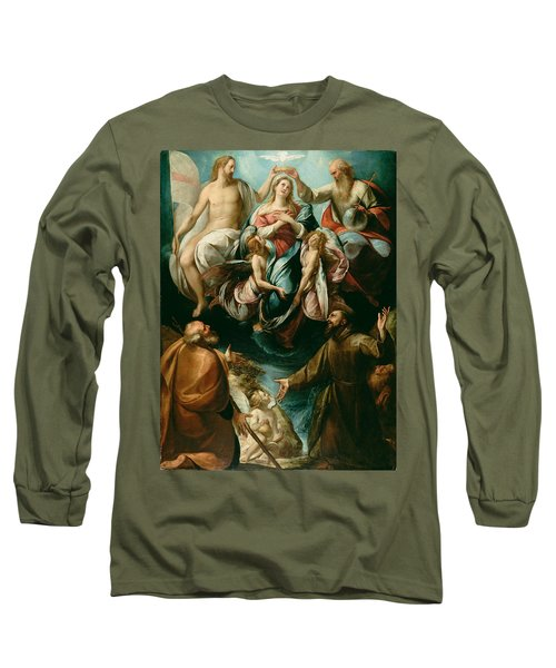 Coronation Of The Virgin With Saints Joseph And Francis Of Assisi Long Sleeve T-Shirt