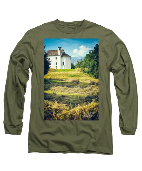 Long Sleeve T-Shirt featuring the photograph Country Church With Hay by Silvia Ganora