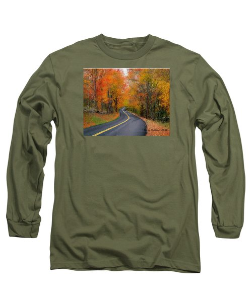 Long Sleeve T-Shirt featuring the painting Country Road In Autumn by Bruce Nutting
