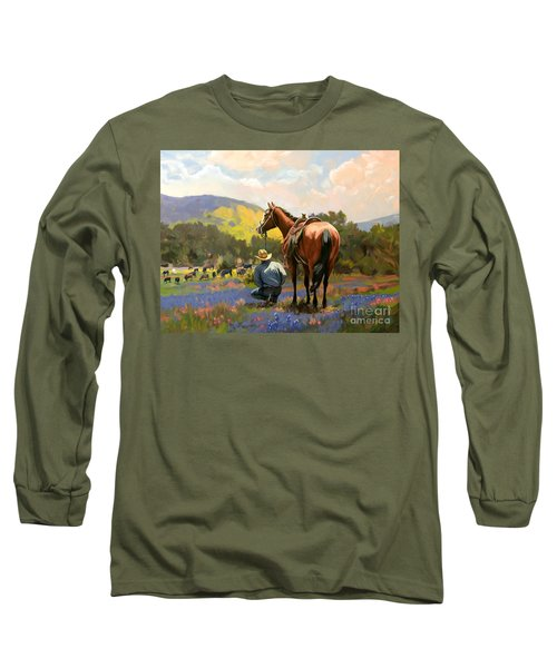 Cowboy And His Cows Long Sleeve T-Shirt