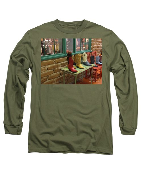 Long Sleeve T-Shirt featuring the photograph Cowboy Boots by Dora Sofia Caputo Photographic Art and Design