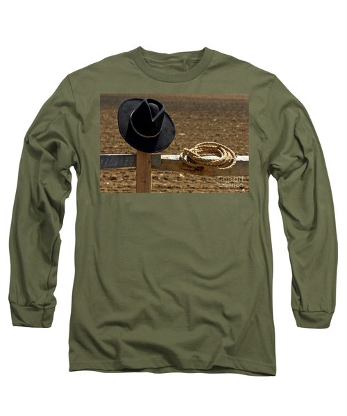Cowboy Hat And Rope On Fence Long Sleeve T-Shirt