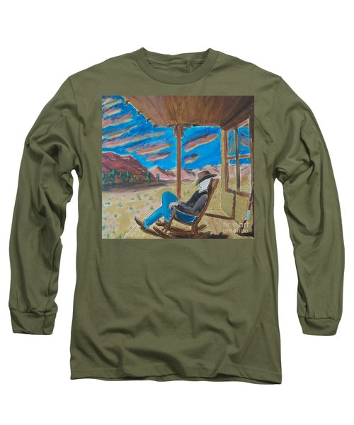 Cowboy Sitting In Chair At Sundown Long Sleeve T-Shirt