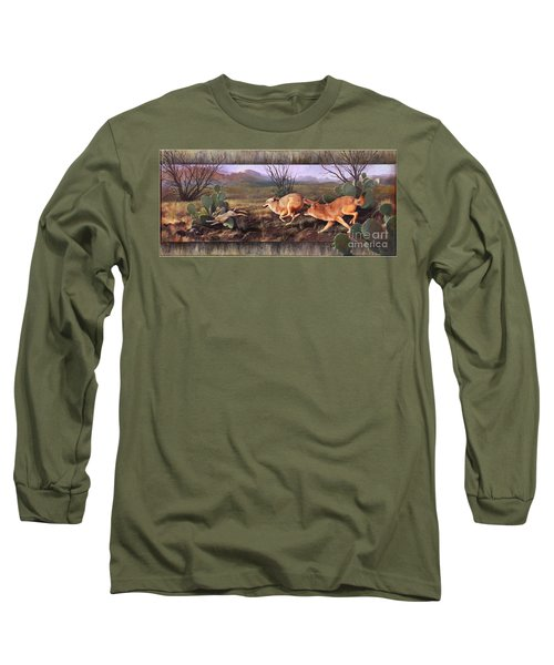 Long Sleeve T-Shirt featuring the painting Coyote Run With Boarder by Rob Corsetti