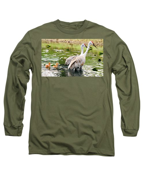 Crane Family Goes For A Swim Long Sleeve T-Shirt