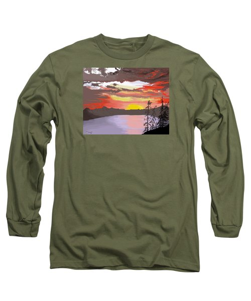 Long Sleeve T-Shirt featuring the digital art Crater Lake by Terry Frederick