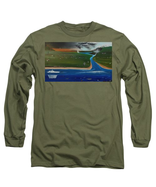 Creation And Evolution - Painting 1 Of 2 Long Sleeve T-Shirt by Tim Mullaney