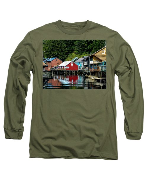 Creek Street - Ketchikan Alaska Long Sleeve T-Shirt by Debra Martz