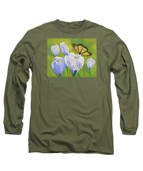 Crocus And Monarch Butterfly Long Sleeve T-Shirt