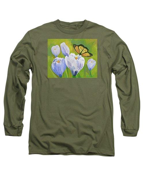 Crocus And Monarch Butterfly Long Sleeve T-Shirt