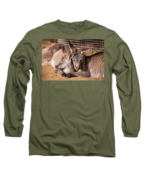 Cuddling Kangaroos Long Sleeve T-Shirt by Ray Warren