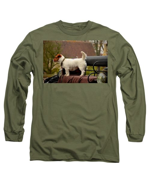 Cute Dog On Carriage Seat Bruges Belgium Long Sleeve T-Shirt by Imran Ahmed