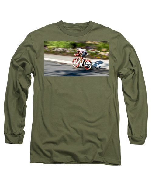 Cyclist Racing The Clock Long Sleeve T-Shirt by Kevin Desrosiers