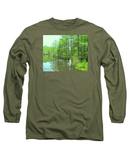 Long Sleeve T-Shirt featuring the photograph Bright Green Cypress Trees Reflection by Belinda Lee