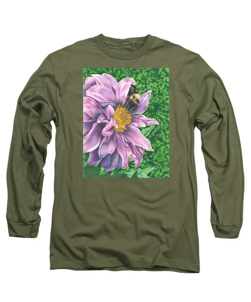 Long Sleeve T-Shirt featuring the drawing Dahlia by Troy Levesque
