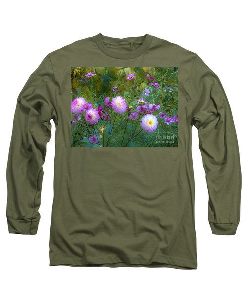 Dahlias And Cosmos  Long Sleeve T-Shirt by Judy Via-Wolff