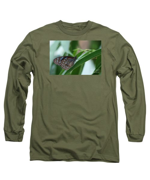Dark Blue Tiger Butterfly #2 Long Sleeve T-Shirt by Judy Whitton