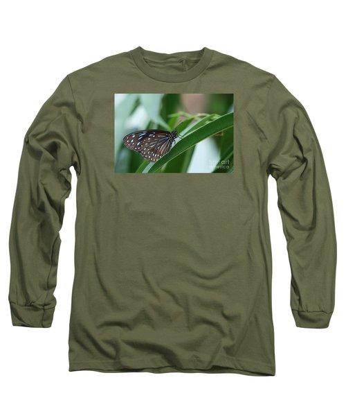 Dark Blue Tiger Butterfly #2 Long Sleeve T-Shirt