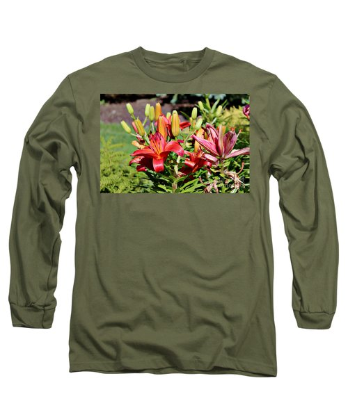 Day Lillies In The Garden Long Sleeve T-Shirt