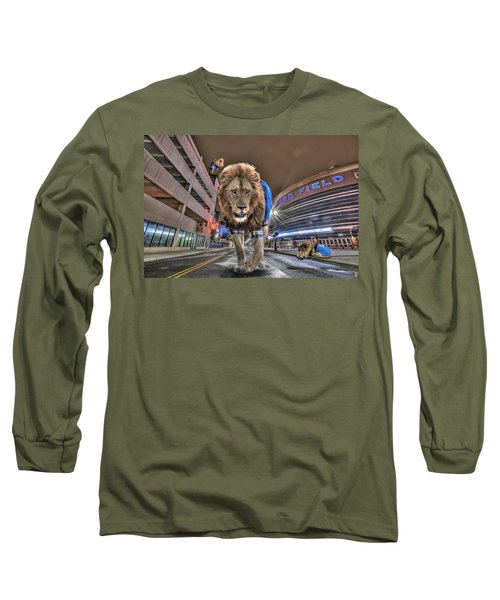Long Sleeve T-Shirt featuring the photograph Detroit Lions At Ford Field by Nicholas  Grunas