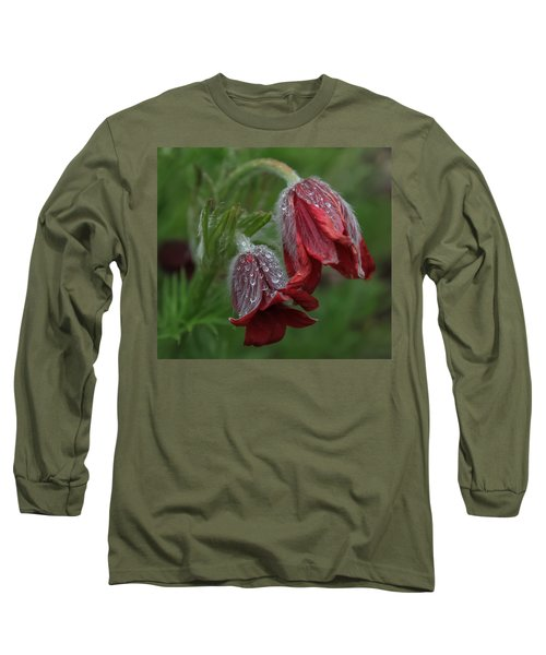 Dew Covered Pasque Flower Long Sleeve T-Shirt