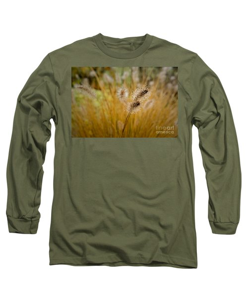 Dew On Ornamental Grass No. 4 Long Sleeve T-Shirt by Belinda Greb
