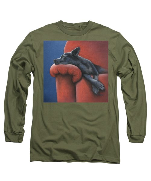 Long Sleeve T-Shirt featuring the drawing Dog Tired by Cynthia House