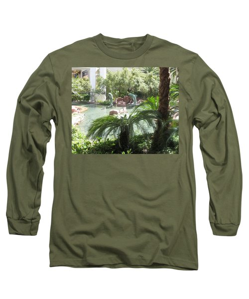Long Sleeve T-Shirt featuring the photograph Dolphin Pond And Garden Green by Navin Joshi