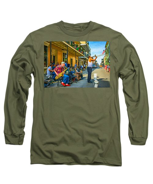 Doreen's Jazz New Orleans - Paint Long Sleeve T-Shirt by Steve Harrington