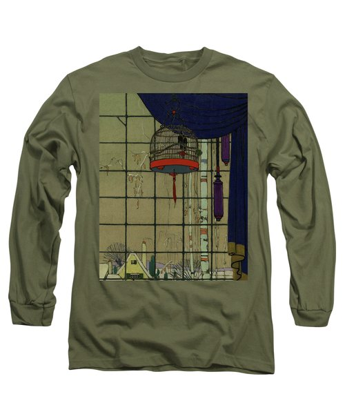 Drawing Of A Bid In A Cage In Front Of A Window Long Sleeve T-Shirt