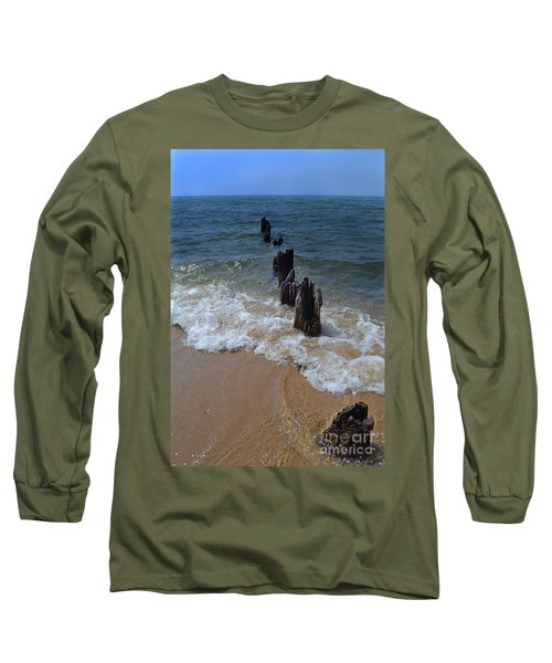 Driftwood And Sea Foam Beach Long Sleeve T-Shirt