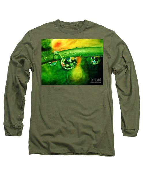 Long Sleeve T-Shirt featuring the painting Droplets by Allison Ashton