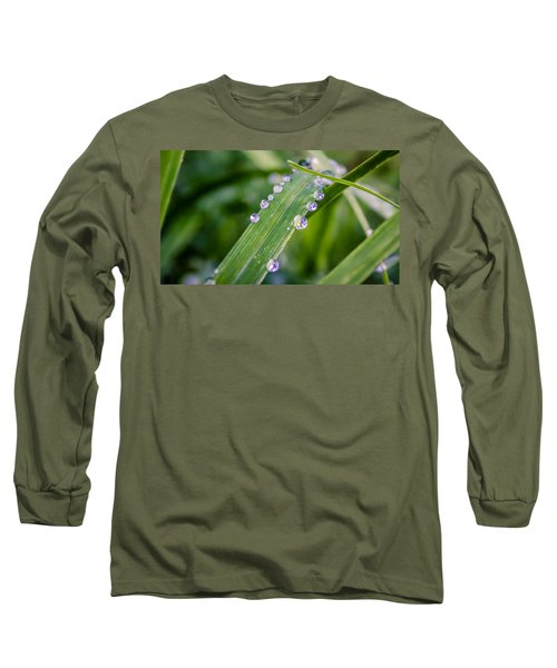 Long Sleeve T-Shirt featuring the photograph Drops On Grass by Rob Sellers