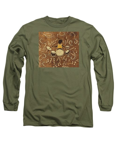 Drummer Long Sleeve T-Shirt by Katherine Young-Beck